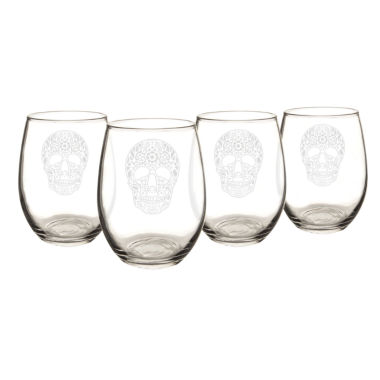jcpenney.com | Cathy'S Concepts Sugar Skull Set Of 4 Stemless Wine Glasses