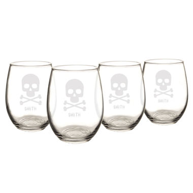 jcpenney.com | Cathy'S Concepts Personalized Skull & Crossbones Set Of 4 Stemless Wine Glasses
