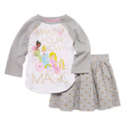 Disney® 2-pc. Long-Sleeve Princess Top and Skirt Set - Girls 2-9/10