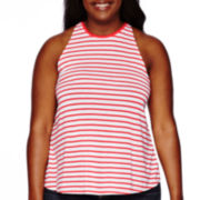 Arizona Stripe High Neck Swing Tank Top - Juniors Plus