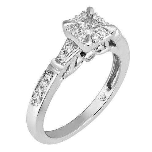 Hallmark Bridal Womens 1/2 CT. T.W. Princess White Diamond 10K Gold Engagement Ring
