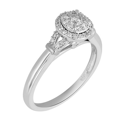 Hallmark Bridal Womens 1/3 CT. T.W. Round White Diamond 10K Gold Engagement Ring