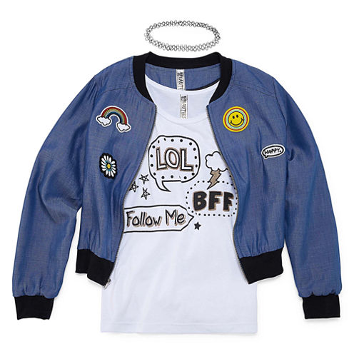 Total Girl Long Sleeve Jacket& SleevelessTop - Big