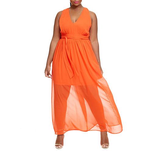 Fashion To Figure Sunset Sleeveless Chiffon Maxi Dress-Plus