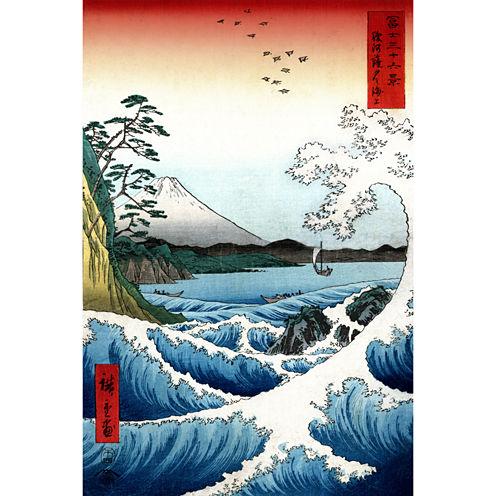 Oriental Furniture Crashing Waves Ukiyo-E By Hiroshige Canvas Art