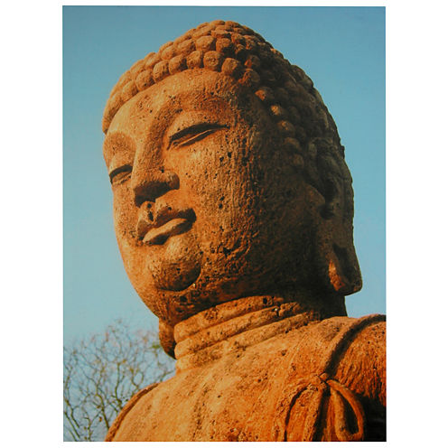Oriental Furniture Rust Color Buddha Statue Canvas Art
