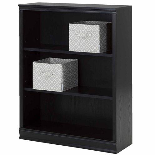 Morgan 3-Shelf Bookcase with 2 Canvas Storage Baskets
