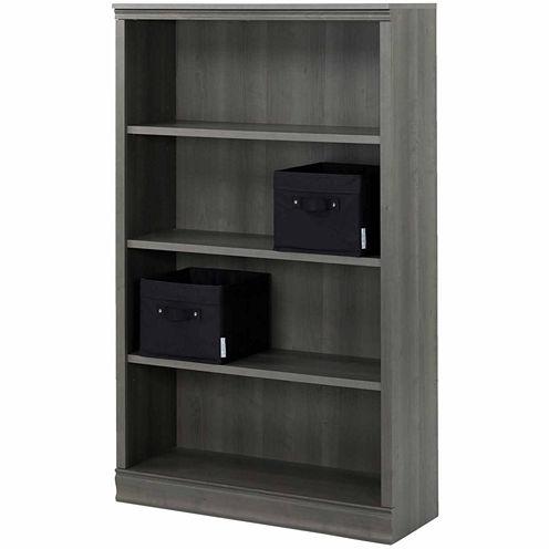 Morgan 4-Shelf Bookcase with 2 Canvas Storage Baskets