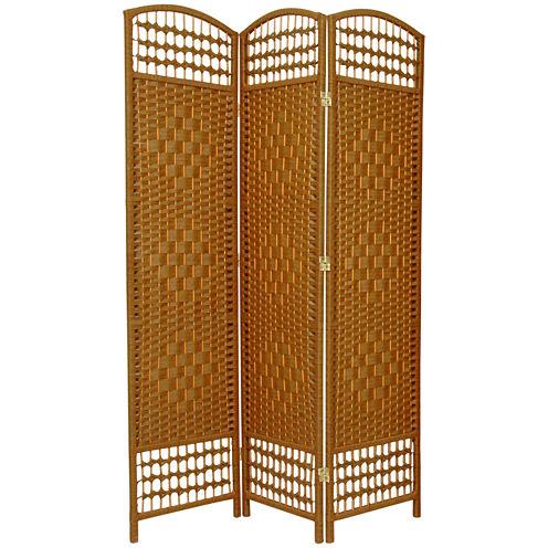 Oriental Furniture 5.5' Fiber Weave 3 Panel Room Divider