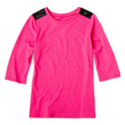 Total Girl® Solid Pleather-Trim Tee - 6-16 and Plus