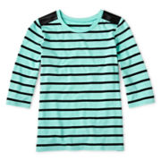 Total Girl® Striped Pleather-Trim Tee - 6-16 and Plus