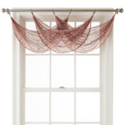 MarthaWindow™ Calais Paisley Sheer Tab-Top Waterfall Valance