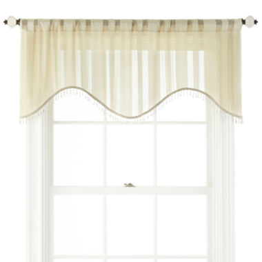 jcpenney.com | Royal Velvet® Cherise Rod-Pocket Sheer Scalloped Valance