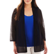 Worthington® Open-Stitch Cardigan Sweater - Plus