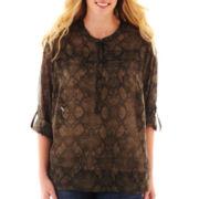 Como Black 3/4-Sleeve Roll-Tab Woven Shirt - Plus