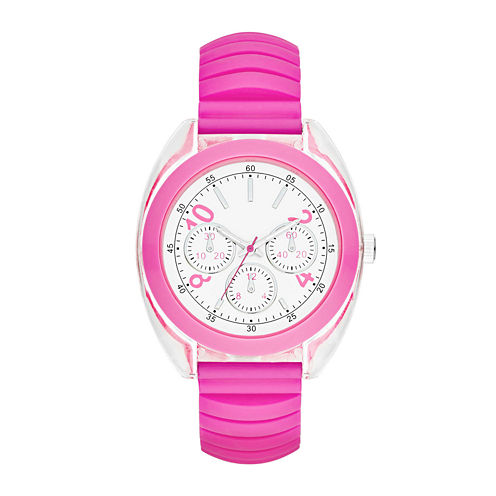 Womens Multifunction-Look Silicone Expansion Strap Watch