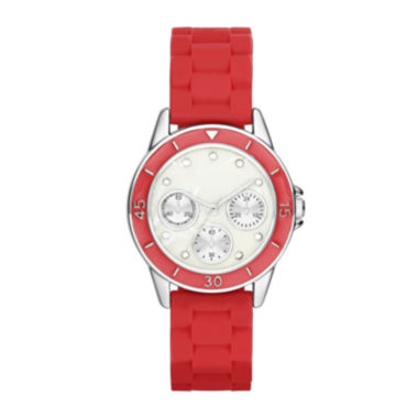 jcpenney.com | Womens Crystal-Accent Multifunction-Look Silicone Strap Watch