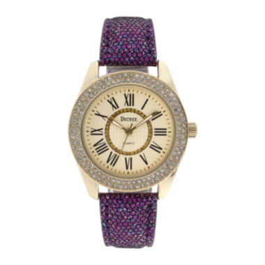 jcpenney.com | Decree® Womens Crystal-Accent Glitter Purple Strap Watch