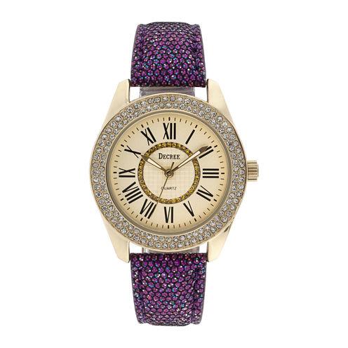 Decree® Womens Crystal-Accent Glitter Purple Strap Watch