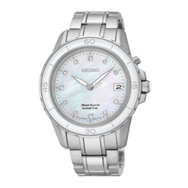 jcpenney.com | Seiko® Sportura Womens Diamond-Accent Kinetic Bracelet Sport Watch SKA881