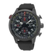 Seiko® Prospex Mens Black Silicone Strap Solar Chronograph Sport Watch SSC371