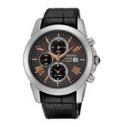 Seiko® Le Grand Sport Mens Black Calfskin Strap Solar Chronograph Sport Watch SSC379
