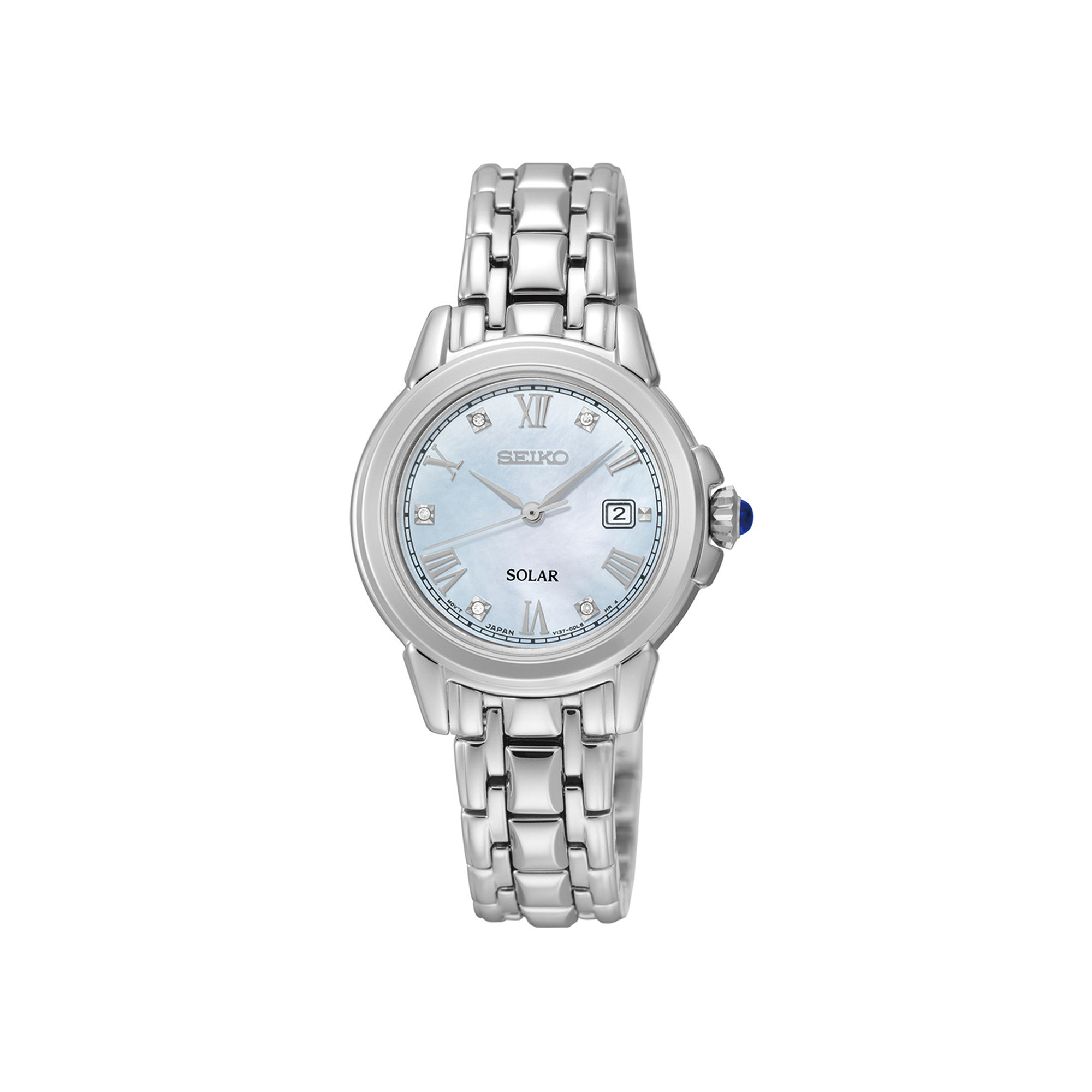 Seiko Le Grand Sport Womens Diamond-Accent Stainless Steel Solar Bracelet Sport Watch SUT243