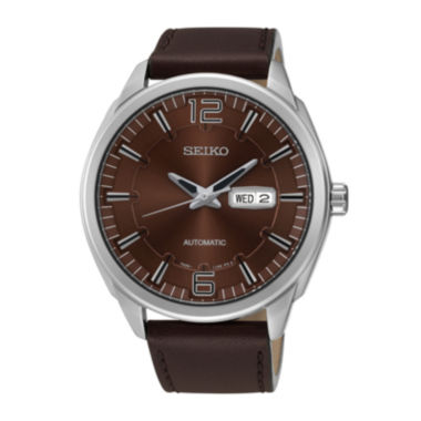 jcpenney.com | Seiko® Recraft Mens Brown Calfskin Strap Automatic Watch SNKN49