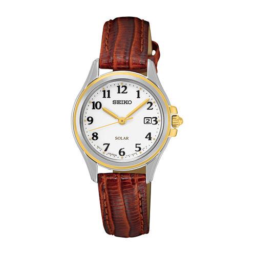 Seiko® Womens Brown Calfskin Strap Solar Watch SUT252