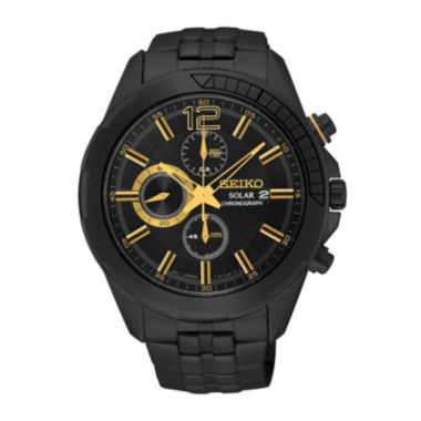 jcpenney.com | Seiko® Mens Black Stainless Steel Solar Chronograph Sport Watch SSC395