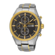 Seiko® Mens Two-Tone Titanium Solar Chronograph Watch SSC392