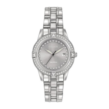 jcpenney.com | Citizen® Eco-Drive® Silhouette Womens Crystal-Accent Stainless Steel Bracelet Watch FE1150-58H