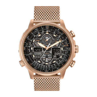 jcpenney.com | Citizen® Eco-Drive® Navihawk A-T Mens Rose-Tone Stainless Steel Chronograph Watch JY8033-51E
