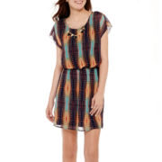 City Triangles® Sleeveless Tribal Print Chiffon Necklace Dress