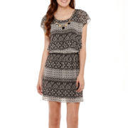 City Triangles® Sleeveless Batik Print Chiffon Necklace Dress
