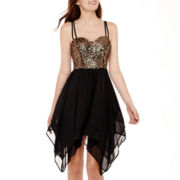 Speechless® Sleeveless Criss-Cross-Back Sequin-Bodice Dress