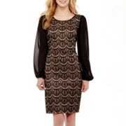 DR Collection Long-Sleeve Lace Illusion Dress