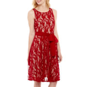 Danny & Nicole® Sleeveless Tie-Waist Lace Fit-and-Flare Dress