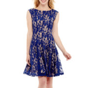 Danny & Nicole® Cap-Sleeve Floral Lace Fit-and-Flare Dress