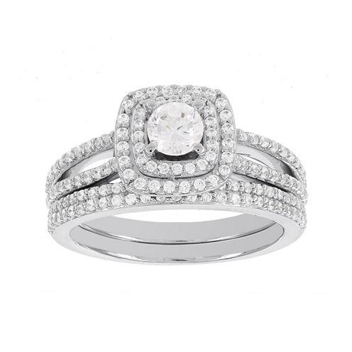 Lumastar 1 CT. T.W. Diamond 14K White Gold Bridal Ring Set