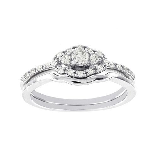Lumastar 1/4 CT. T.W. Diamond 14K White Gold 3-Stone Bridal Ring Set