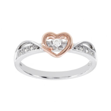 jcpenney.com | Lumastar Diamond-Accent Sterling Silver and Rose Gold Over Sterling Silver Heart Ring
