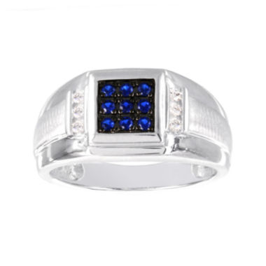 jcpenney.com | Mens 1/8 CT. T.W Diamond and Lab-Created Blue Sapphire Ring