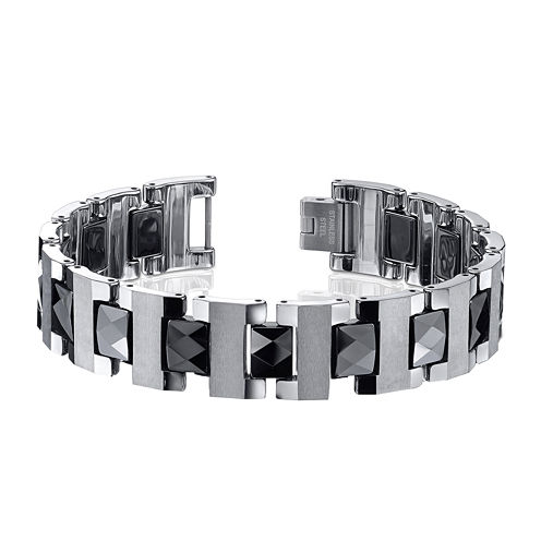 Mens Tungsten and Ceramic Bracelet
