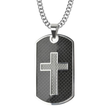 jcpenney.com | Inox® Mens Black Stainless Steel Cross Dog Tag Pendant Necklace