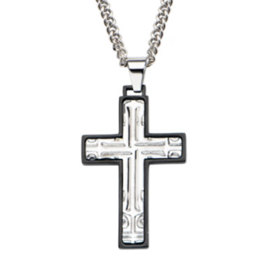 jcpenney.com | Inox® Mens Stainless Steel Black Rim Cross Pendant Necklace