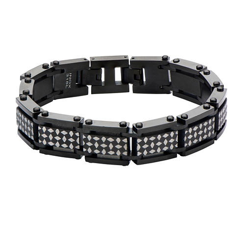 Inox® Mens Black IP Stainless Steel Link Bracelet