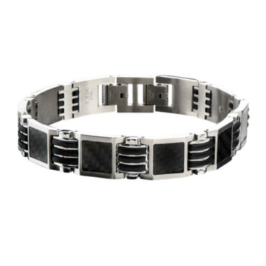 jcpenney.com | Inox® Mens Stainless Steel and Black Carbon Fiber Link Bracelet