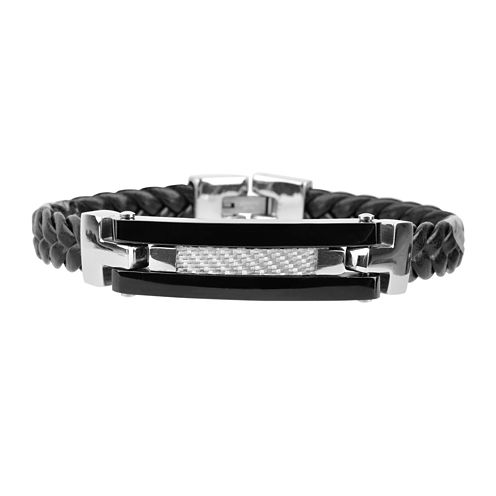 Inox® Mens Leather and Stainless Steel Bracelet