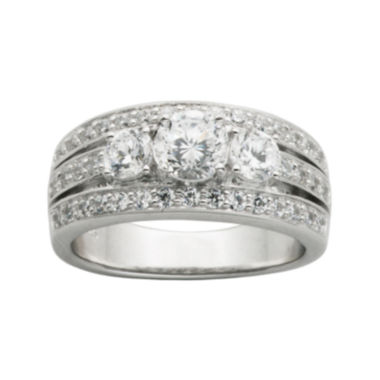 jcpenney.com | DiamonArt® Cubic Zirconia Sterling Silver 3-Stone Wedding Band